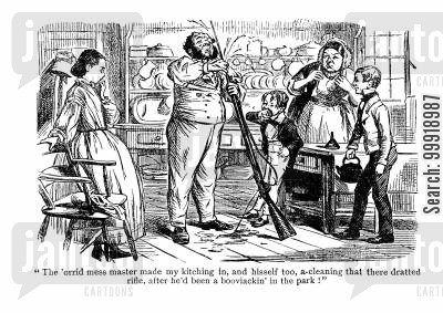 victorian kitchen cartoon humor: Rifle Cleaning.