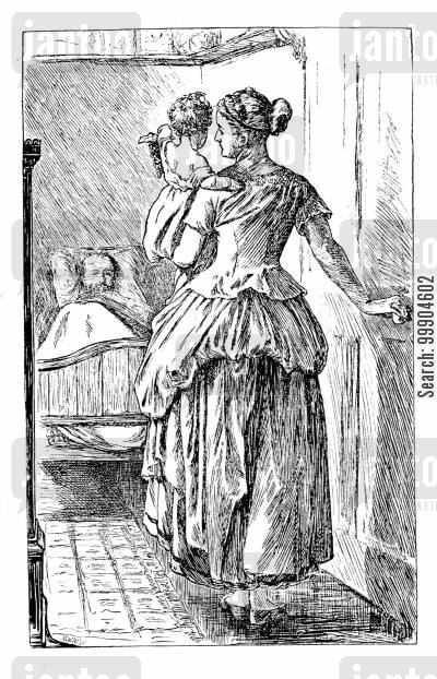 elizabeth gaskell cartoon humor: Illustration for 'Six Weeks at Heppenheim'.