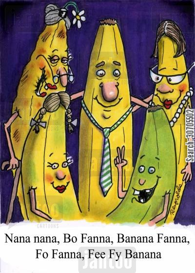 the name game cartoon humor: 'Nana nana, Bo Fana, Banana Fana, Fo Fana Fee Fy Banana.'