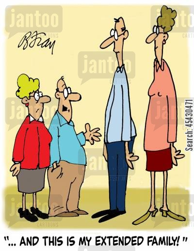 family members cartoon humor: '...and this is my extended family!'