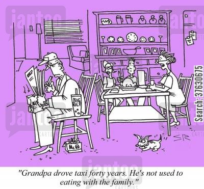 limo cartoon humor: 'Grandpa drove taxi forty years. He's not used to eating with the family.'