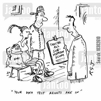 paternity cartoon humor: 'Your DNA test results are now in.'