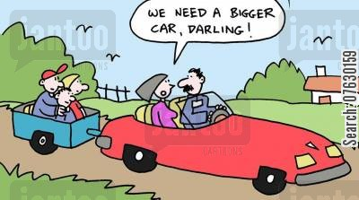 small cars cartoon humor: We need a bigger car darling!