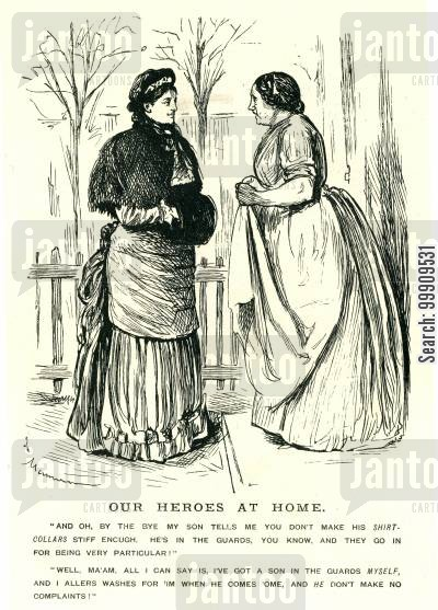 lower classes cartoon humor: Two Women Discuss Washing Clothes.