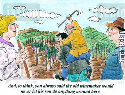 piggy backs cartoon humor: 'And, to think, you always said the old winemaker would never let his son do anything around here.'