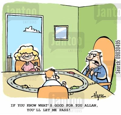 racing car cartoon humor: 'If you know what's good for you Allan, you'll let me pass!'