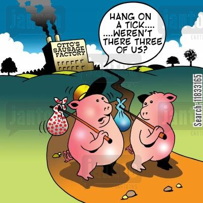 three pigs cartoon humor: Weren't there three of us?