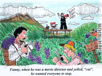 crew cartoon humor: 'Funny, when he was a movie director and yelled, 'cut', he wanted everyone to stop.'
