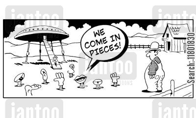 alien life form cartoon humor: Various body parts outside space ship say to farmer: 'We come in pieces!'