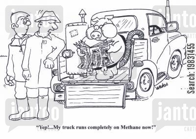 bio fuels cartoon humor: 'Yep!.... My truck runs completely on methane now!'