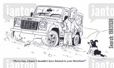 satnav cartoon humor: 'We're lost... I knew I shouldn't have listened to your directions!'