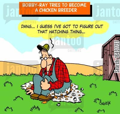business venture cartoon humor: Bobby-Ray tries to become a chicken breeder
