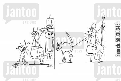 milking parlour cartoon humor: Cat Spray.