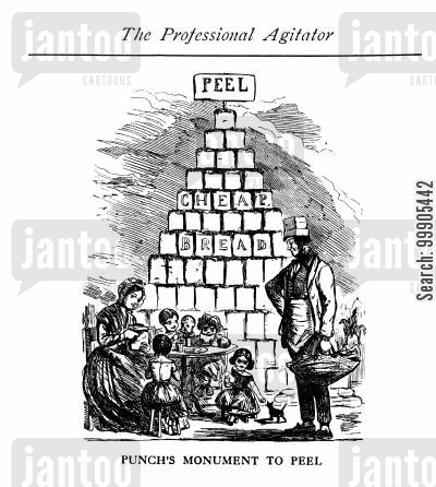 peel cartoon humor: Punch's Monument to Peel's Repeal of the Corn Laws in 1846