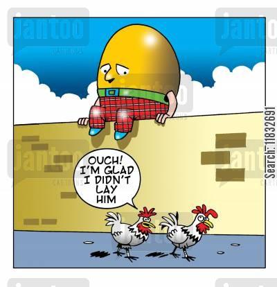 egg layers cartoon humor: I'm glad I didn't lay him!