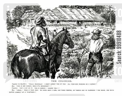 emigration cartoon humor: Traveler speaking to colonial plantation worker