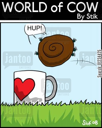 dunks cartoon humor: Flie dipping a dry cowpat in to some tea.