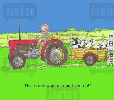 round ups cartoon humor: 'This is one way to 'round-'em-up!'