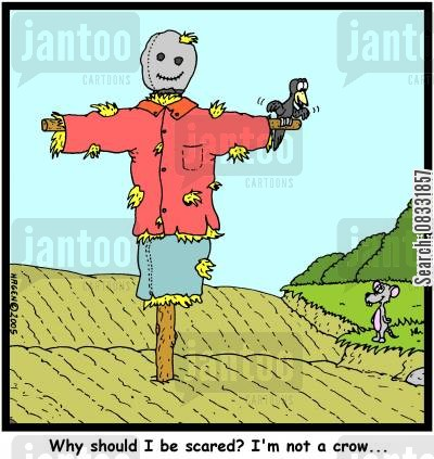 scare crows cartoon humor: 'Why should I be scared? I'm not a crow...'