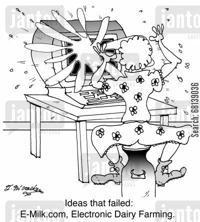 computer error cartoon humor: Ideas that failed: E-Milk.com, Electronic Dairy Farming.