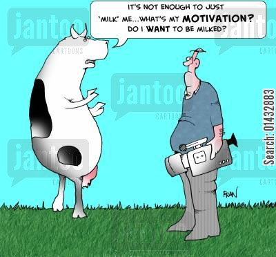 milked cartoon humor: It's not enough just to 'milk me'...what's my motivation? Do I want to be milked?