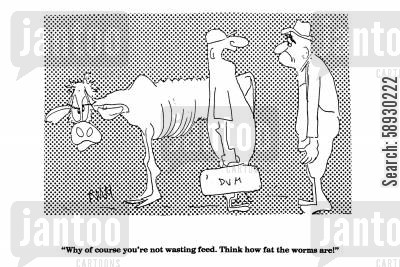 angry bull cartoon humor: 'Why of course you're not wasting feed, Think how fat the worms are'