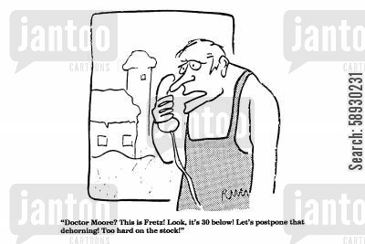 angry bull cartoon humor: 'Doctor Moore?' This is Fretz! Look, it's 30 below!...