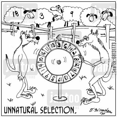 survival of the fittest cartoon humor: Unnatural Selection.