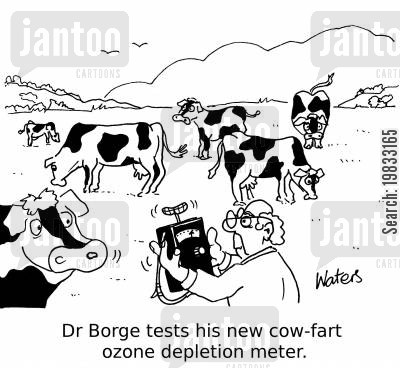 ozone layer cartoon humor: Dr B orge tests his new cow-fart ozone depletion meter.