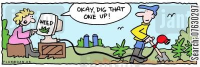 suburban life cartoon humor: Okay, dig that one up!