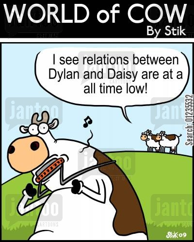 folk music cartoon humor: I see relations between Dylan and Daisy are at a all time low!