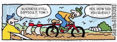 bike cartoon humor: Business still difficult, Tom?