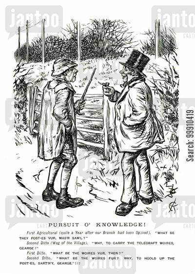 progress cartoon humor: Farmers discuss telegraph poles
