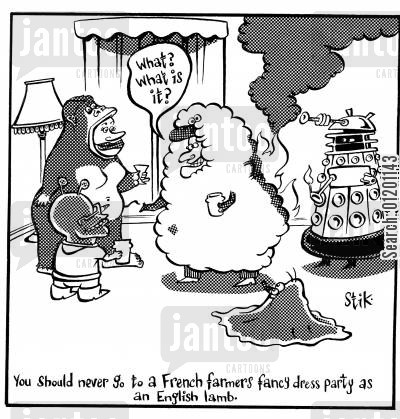 french farmer cartoon humor: English lamb at French farmers fancy dress party