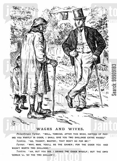farm labourer cartoon humor: Gentleman Farmer and his Farm Worker.
