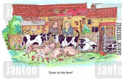 rural life cartoon humor: Down on the farm