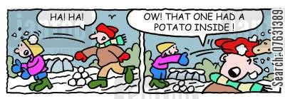 throwing snowballs cartoon humor: Throwing snowballs: Ow! That one had a potato inside!