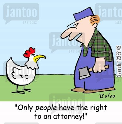 hatchet cartoon humor: 'Only PEOPLE have the right to an attorney!'