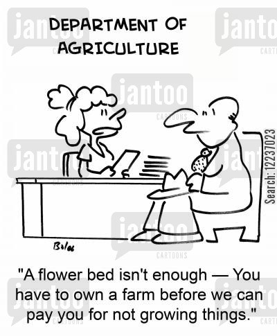 subsidise cartoon humor: 'A flower bed isn't enough --You have to own a farm before we can pay you for not growing things.'