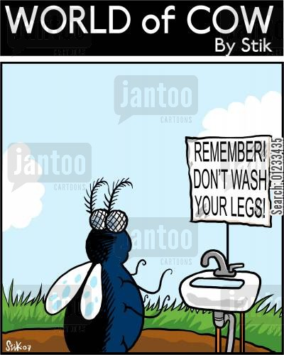 spreading disease cartoon humor: Don't wash your legs!