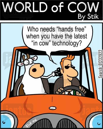 phone cartoon humor: Who needs 'hands free' when you have the latest 'in cow' technology?