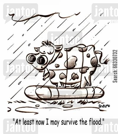 farmland cartoon humor: At least now I may survive the flood.