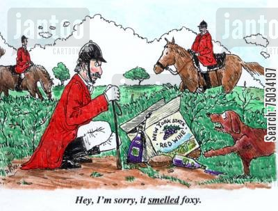 fox hunt cartoon humor: 'Hey, I'm sorry, it smelled foxy.'