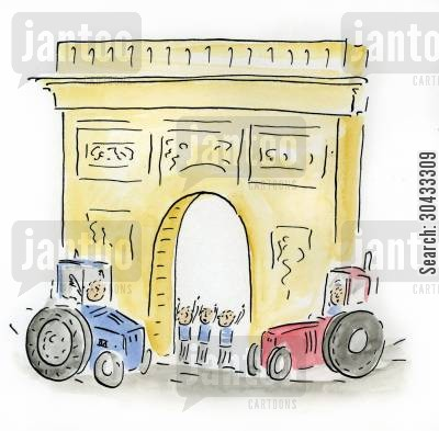 larc du triomphe cartoon humor: French Farmers protesting in Paris.