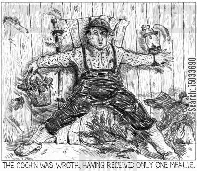 farmhand cartoon humor: 'The cochin was wroth, having received only one mealie.'