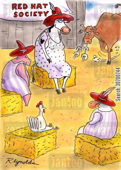 red hat cartoon humor: Red Hat Society.