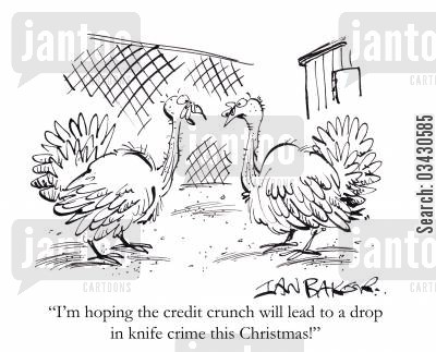 knife crimes cartoon humor: 'I'm hoping the credit crunch will lead to a drop in knife crime this Christmas!'