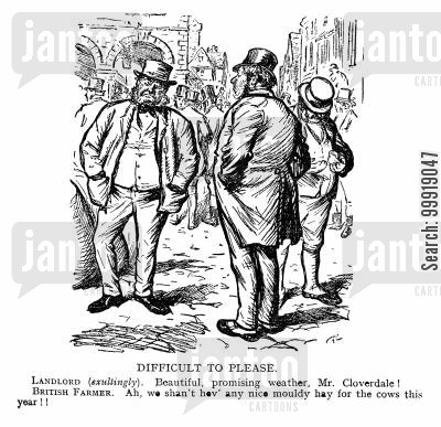 victorian farms cartoon humor: Difficult to Please