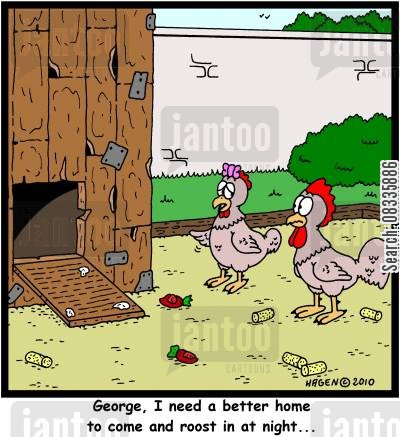 building renovations cartoon humor: 'George, I need a better home to come and roost in at night...'