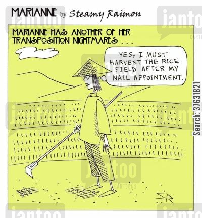salons cartoon humor: 'Yes, I must harvest the rice field after my nail appointment,'